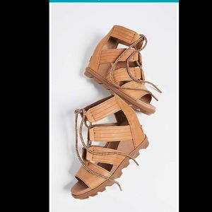 New SOREL Joanie Gladiator Wedge Sandals Tan 8.5